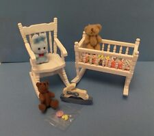Dollhouse mini 1:12 white 2pc nursery set cradle & rocker 2 teady bears toys