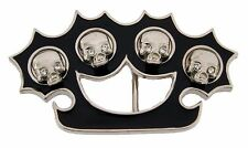 Skull Belt Buckle Gothic New Brass Knuckle Costume Metal Fashion Mens Skeleton