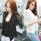 Womens Long Sleeve Lace Crochet Lapel Blazer Short Jacket Slim Suit Blouse Coat