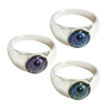 2 Evil Eye Mood Rings Silver Tone Sz 9 Unisex NEW Club Emo Goth