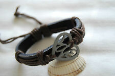 Black leather bracelet brown cord for women girls adjustable with steel heart