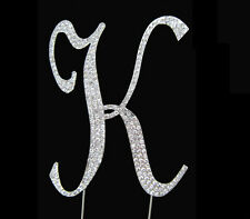 "Large Rhinestone Crystal Monogram Letter ""K""  Wedding Cake Topper  5"" inch high"