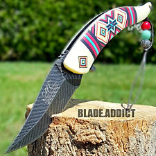 "8.5"" Native American Indian Spring Assisted Open Pocket Knife Damascus Feather I"