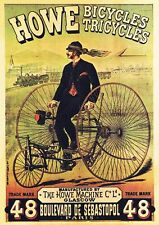 HOWE BICYCLE TRICYCLE DREIRAD GLASGOW PARIS PLAKAT 127 Faksimile Büttenpapier