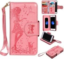 cute girl 9 cards Multifunctional wallet Leather Cover case with strap for phone