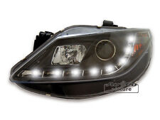 DRL Inside LED black Headlights for Seat Ibiza 6J with daytime running lights