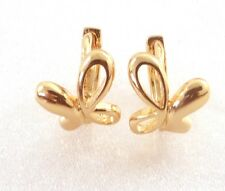 18K Yellow Gold Plated Flower Girl Birthday Holiday Butterfly Tiny Hoop Earrings