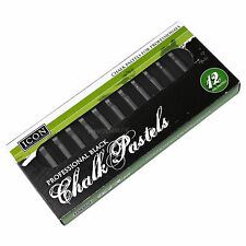 Pack of 12 Black Chalk Oil Pastels Professional Artist Drawing Sketching Shading