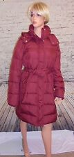 NWT $298 J CREW HOODED PUFFER BELTED  COAT,JACKET SIZE-T MEDIUM  IN RED