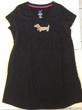 New DACHSHUND Size S/M Sleep Night Shirt Pajamas Doxie Dog Black Polka Dot