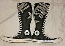 Converse Chuck Taylor All Star W8 M6 Silver Glitter Knee High Sneakers Boots