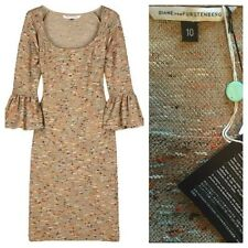 NWT Diane Von Furstenburg $465 Sens Boucle Dress 10 Large Tweed Sweater Gold DVF