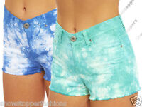 NEW Womens SHORTS DENIM Tie Dye Ladies HOT PANTS Size 8 10 12 14 16 short