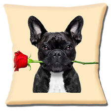 "BLACK WHITE FRENCH BULLDOG HOLDING RED ROSE PHOTO PRINT 16"" Pillow Cushion Cover"