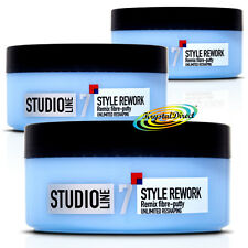 3x Loreal L'oreal Studio Style Rework Remix Hair Reshaping Fibre Putty 150ml