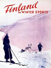 ART PRINT POSTER TRAVEL TOURISM WINTER SPORT SKI ELK FINLAND SNOW NOFL1275