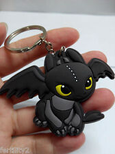 How To Train Your Dragon Toothless PVC Pendant Keychain Metal Ring NEW