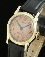 VINTAGE ALPINA 588 MENS MANUAL WIND WATCH – ROSE GOLD COLOR DIAL – WWII ERA