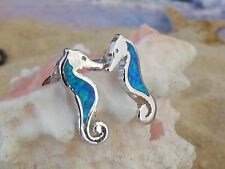 STERLING SILVER BLUE OPAL SEA HORSE STUD EARRINGS