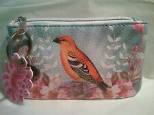 "Urban Outfitters ~ "" FLORAL BIRD ""  ~ Artful Coin Zipper Purse ~"