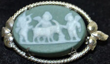 19th C Antique WEDGWOOD Sage Green Jasperware Classic Silver Brooch, signed