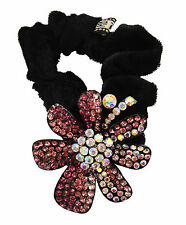 HR0122 Black scrunchie decorated with a sparkling variety of coloured pink, colo