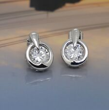 Women Fashion 925 Sterling Silver SWAROVSKI CRYSTAL Round-shape Stud Earrings