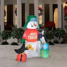 NEW CHRISTMAS AIRBLOWN INFLATABLE BLOW UP 5.5' SHIVERING SNOWMAN OUTDOOR DECOR