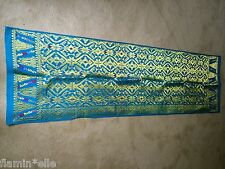 Balinese Songket Ikat Wall hanging table runner gold metal thread turquoise Bali
