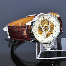 New SOKI White Mens Automatic Mechanical Analog Brown Leather Band Watch X98