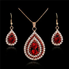 18k GP Crystal Ruby jewelry set lady red waterdrop charm necklace dangle earring