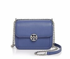 NWT❤️$335 TORY BURCH Metallic Leather Duet Chain Micro Crossbody Bag Blue Silver