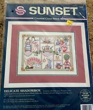 "1994 DIMENSIONS SUNSET COUNTED CROSS STITCH KIT ""DELICATE SHADOWBOX"" #13590"