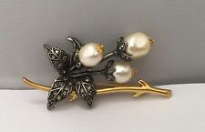 Joan Rivers Pearl Marcasite Gold Tone Branch Flowers Leaf Pin Brooch
