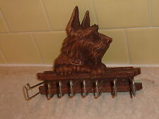 VINTAGE SYROCO WOOD TIE /  BELT RACK / HANGER / HOLDER w/ SCOTTISH TERRIER  DOG