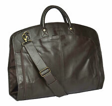 Genuine Leather Suit Carrier Bag BROWN Dress Garment Cover Travel Cabin Bag NEW