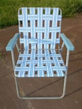 VINTAGE RETRO FOLDING WEBBED LAWN CHAIR WHITE, BLUE, METAL FRAME, PLASTIC ARMS