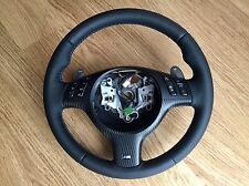 BMW E46 M3 SMG Steering Wheel - New Leather Carbon Trim Tri-colour M Stitching