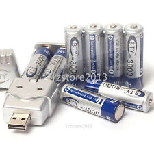 8x 2A 3000mAh 1.2 V Ni-MH BTY Rechargeable Battery Cell With AA AAA USB Charger