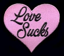 Love Sucks Patch Badge Retro Pink Heart Punk Rock Novelty Goth Vest Jacket