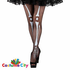 Womens Ladies Halloween Skeleton Bones Tights Pantyhose Fancy Dress Accessory