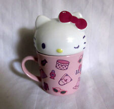 HELLO KITTY 1976-2007 COVERED LIDDED COFFEE MUG 6 OZ TEA CUP STEEP