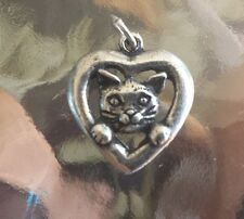 KITTY PET ANIMAL 2 CATS IN HEART PEWTER CHARMS or PENDANTS ALL NEW.