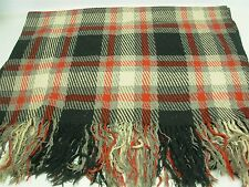 "ANTIQUE RED & BLACK PLAID 100% WOOL THROW BLANKET 55"" X 67"""