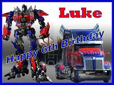 PERSONALIZED TRANSFORMERS CAKE TOPPER A4 OPTIMUS PRIME EDIBLE PHOTOS FOR CAKES