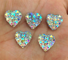 DIY 40PCS white AB Resin Heart flatback Scrapbooking for phone/wedding/craft NEW