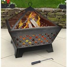 Antique Bronze 26 inch Wood Burning Fire Pit w/Cover for Backyard Deck Patio