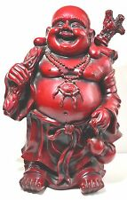 "18"" Vintage Chinese Laugh Maitreya Buddha Lucky Gold Money Bag Wealth Statue"