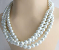 White Pearl Multi Strand Statement  Birdal Pearl Wedding Bridesmaid Necklace