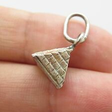 Vintage Sterling Silver Egyptian Pyramid Shaped Small 3D Charm Pendant
